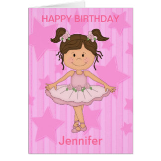 Cute Pink Ballet Girl On Stars and Stripes Greeting Card