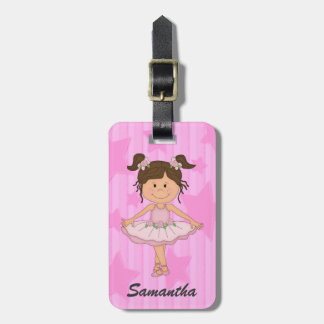 Cute Pink Ballet Girl On Stars and Stripes Luggage Tag