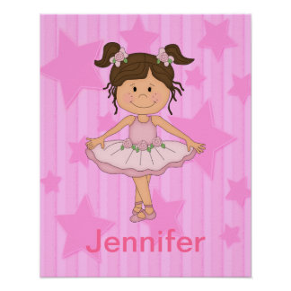 Cute Pink Ballet Girl On Stars and Stripes Poster