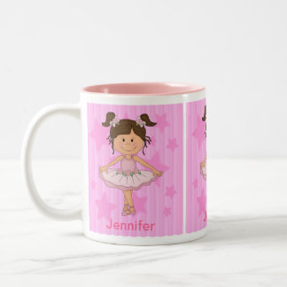 Cute Pink Ballet Girl On Stars and Stripes Two-Tone Mug