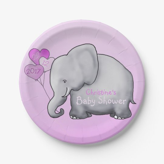 Cute Pink Balloons Elephant Girl Baby Shower Paper