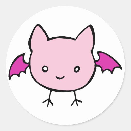 Cute Pink Bat Classic Round Sticker