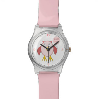 Cute Pink Bbay Girl Owl Watch
