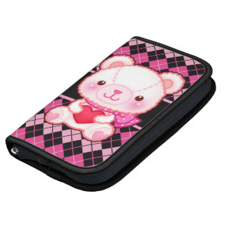 Cute pink bear on black & pink argyle personalized organizers