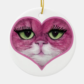 CUTE PINK BIG EYES CAT FACE, GIRLY PINK CAT GIFTS CHRISTMAS ORNAMENT