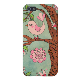 Cute Pink Bird in Red Boots iPhone 5 Covers