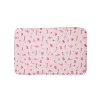 Cute Pink Birds And Flowers Pattern  Bath Mat Bath Mats