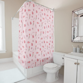 Cute Pink Birds And Flowers Pattern Shower Curtain