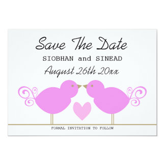 "Cute Pink Birds Lesbian Wedding Save The Date 5"" X 7"" Invitation Card"