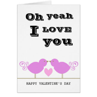 Cute Pink Birds Valentine Day Card Greeting Card