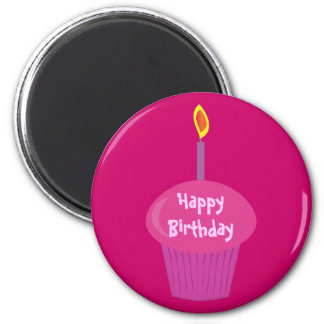 Cute Pink Birthday Cupcake & Candle Custom 6 Cm Round Magnet