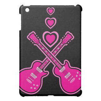 Cute Pink & Black Guitars & Hearts iPad Mini Cases