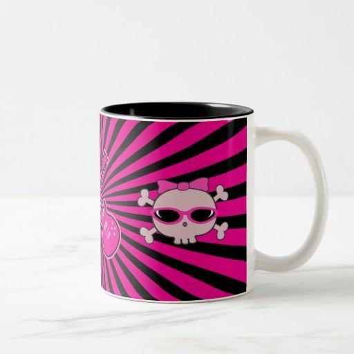 Cute Pink & Black Guitars & Skulls Mug