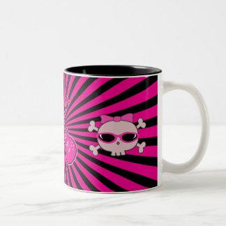 Cute Pink & Black Guitars & Skulls Two-Tone Coffee Mug