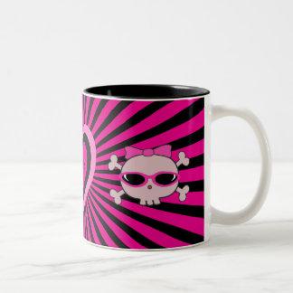 Cute Pink & Black Heart & Skulls Two-Tone Coffee Mug