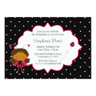Cute pink black ladybug birthday party invitation