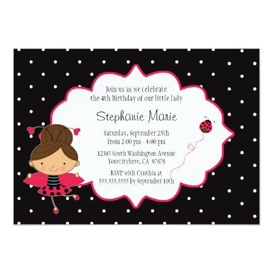 Cute pink black ladybug birthday party invitation