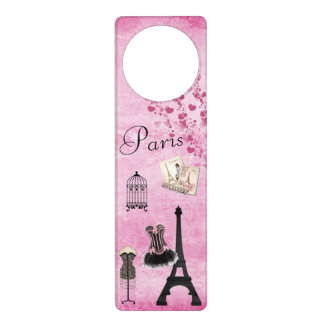 Cute Pink Black Paris Fashion Eiffel Tower Door Hanger