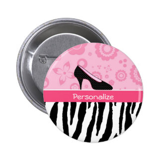 Cute Pink Black Shoes Trendy Zebra Print With Name 6 Cm Round Badge