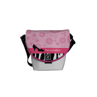 Cute Pink Black Shoes Trendy Zebra Print With Name Courier Bag