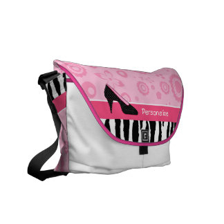 Cute Pink Black Shoes Trendy Zebra Print With Name Messenger Bags