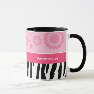 Cute Pink Black Shoes Trendy Zebra Print With Name Mug