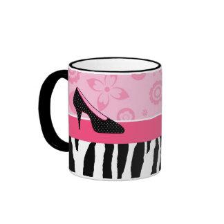 Cute Pink Black Shoes Trendy Zebra Print With Name Ringer Mug