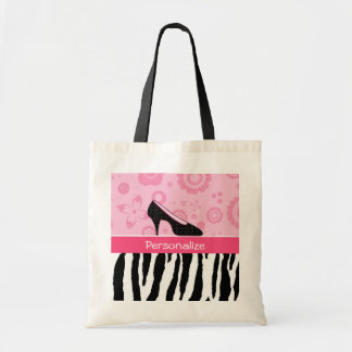 Cute Pink Black Shoes Trendy Zebra Print With Name Tote Bags
