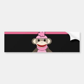 Cute Pink Black Stripe Sock Monkey Girl Flower Hat Bumper Sticker
