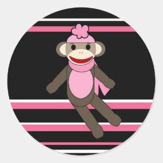 Cute Pink Black Stripe Sock Monkey Girl Flower Hat Round Sticker
