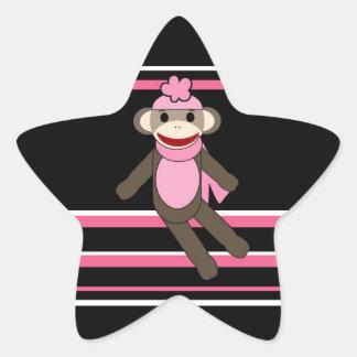 Cute Pink Black Stripe Sock Monkey Girl Flower Hat Star Sticker