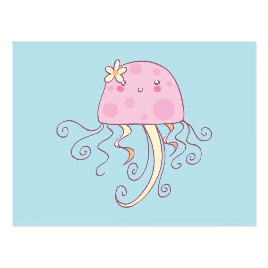 Cute Pink Blue Cartoon Jellyfish Postcard