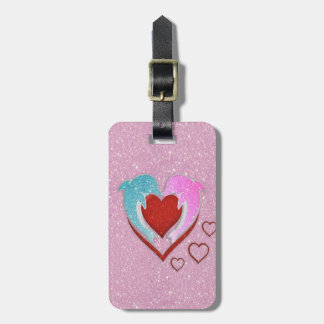 Cute pink blue dolphins holding a red heart luggage tag