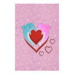 Cute pink blue dolphins holding a red heart stationery paper