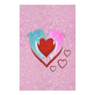 Cute pink blue dolphins holding a red heart stationery