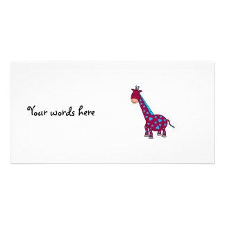 Cute pink blue giraffe picture card
