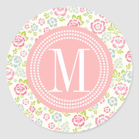Cute Pink & Blue Girly Floral Personalised Classic