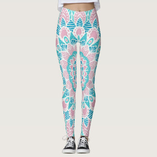 Cute pink blue green mandala leggings