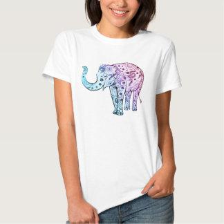 Cute Pink Blue Ornaments Elephant T Shirts