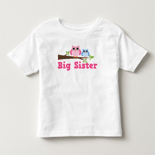 Cute Pink Blue Owl Branch Big Sister Toddler