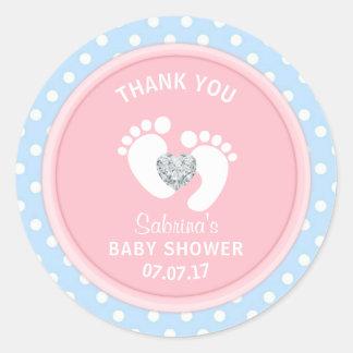 Cute Pink Blue Polka Dot Baby Shower Gender Reveal Classic Round Sticker
