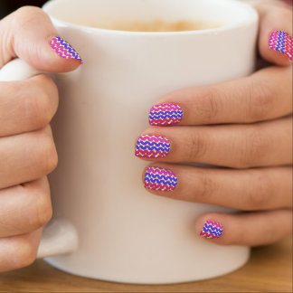 Cute Pink blue & red chevron pattern Minx Nail Art