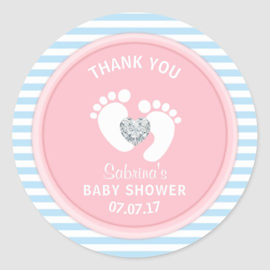 Cute Pink Blue White Baby Shower Gender Reveal
