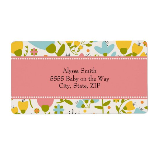 Cute Pink Blue Yellow Pastel Floral Baby Shower Shipping Label