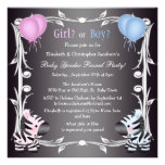 Cute Pink & Blue Zebras Baby Gender Reveal Shower Custom Invitation