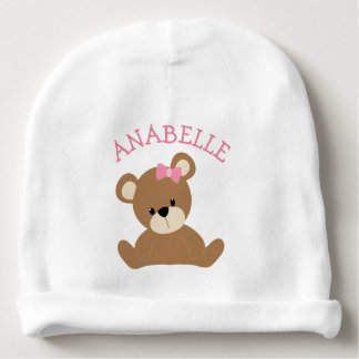 Cute Pink Bow Teddy Bear Personalized Baby Beanie