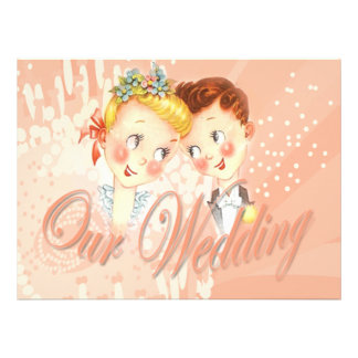 Cute Pink Bride & Groom Wedding Invitation