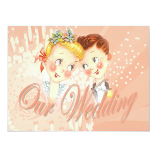 Cute Pink Bride & Groom Wedding Invitation
