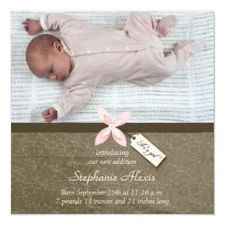 Cute pink brown baby girl photo birth announcement