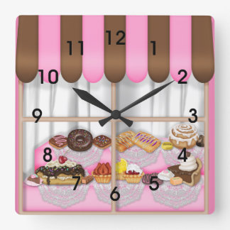 Cute Pink Brown Cupcake Sweet Bakery Square Wall Clock